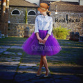 Real Photo 2016 Tutu Purple Tulle Skirts Midi skirt Women Fashion Party 60cm Long Saias femininas Plus size