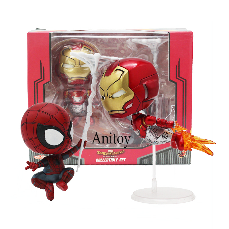 Cosbaby Marvel Homecoming Iron Man & Spiderman Bobble Head Dolls Figures Toys 2-pack