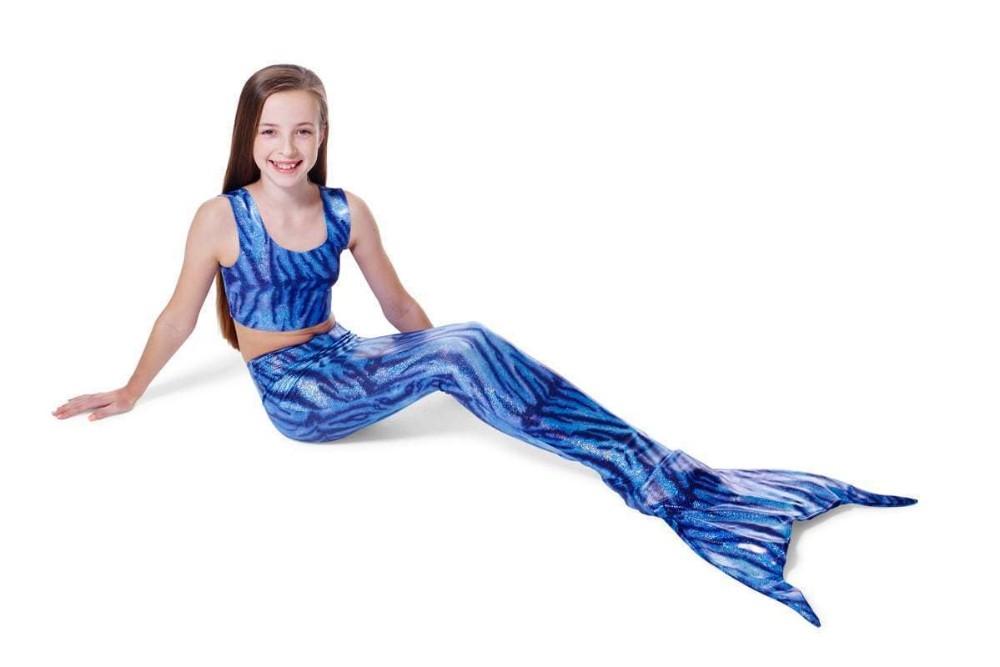 0b7aa13ddbbed Anime Wave pattern New Girls Kids Mermaid Tail Swimming Bikini Set Swimwear  Swimsuit Swim Cosplay Costume