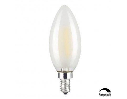 6W Dimmable LED Filament Candle Light Bulb, 4000K Daylight (Neutral White) 600LM, E12 Candelabra Base, C35 Torpedo Shape Bullet
