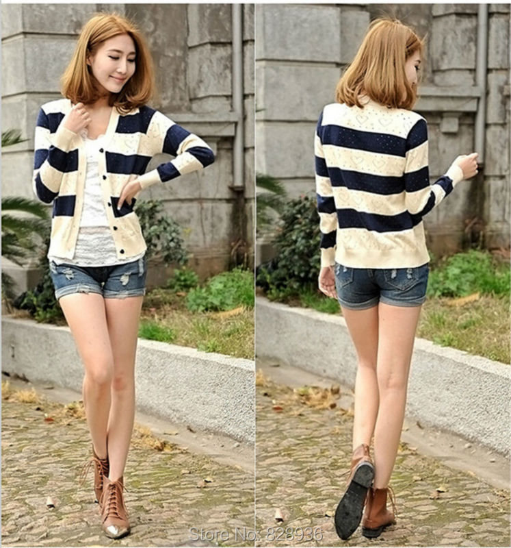 Women Ladies Cardigans Sweater New 2015 Fashion Trendy Spring Summer Autumn Casual Striped Knitted Sweaters Japan Korean Style,in Cardigans from Womens
