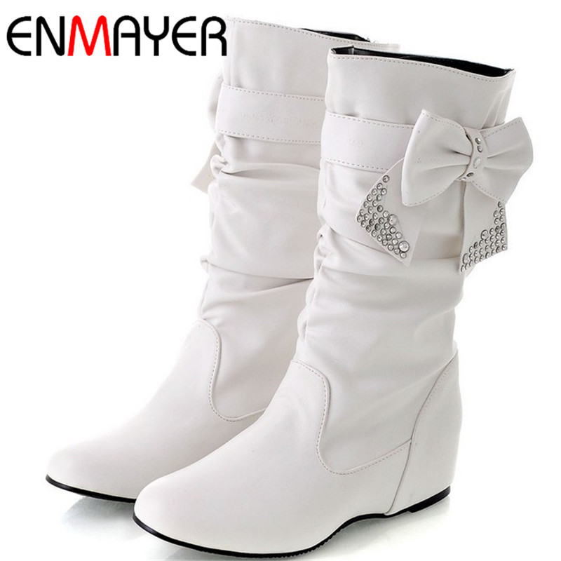 ENMAYER Big Size 34-44 Hot New Fashion Flat Boots Women Snow Boots and Slip-On Round Toe Women Winter Shoes Women Large Size enmayer hot new fashion round toe lace up flat ankle snow boots for women winter boots shoes large size 34 43 platform shoes