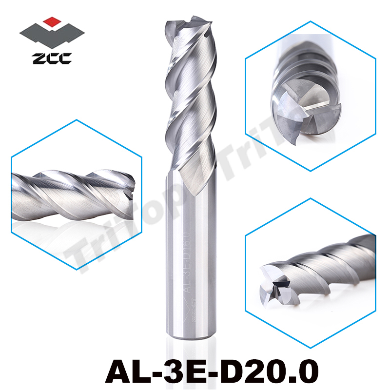 high precision machining ZCC.CT AL 3E D20.0 solid carbide 3 flute flattened cnc end mill 20mm straight shank milling cutter