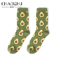 CHAOZHU 2018 New Cartoon Avocado Pattern Women Fashion Socks Warm Cotton Knitted Lady Trendy Street Snap Sox