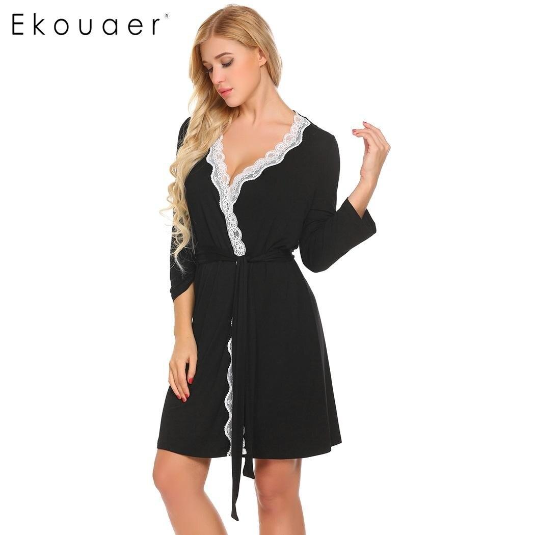 d002c69ce9 Ekouaer Women Robe Long Sleeve V Neck Lace trimmed Nighties Belt Sleepwear  Robes Bathrobe Gowm Dressing Female Homewear-in Robes from Underwear    Sleepwears ...