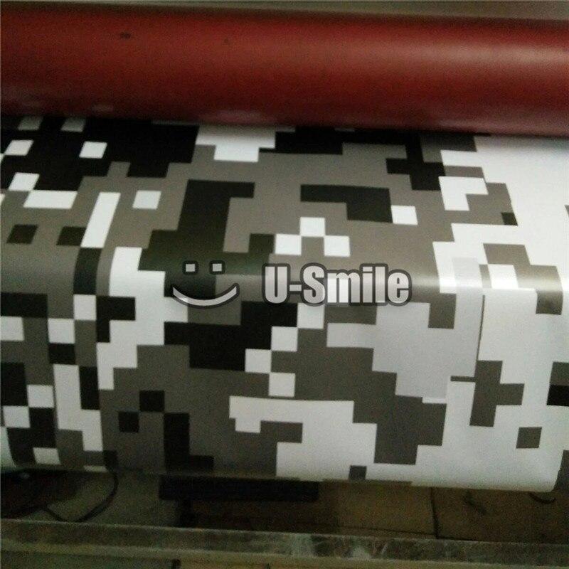 Black White Grey Digital Arctic Pixel Camouflage Vinyl Car Wrap Foil Car Sticker Bubble Free 1.52x30m/Roll - 2