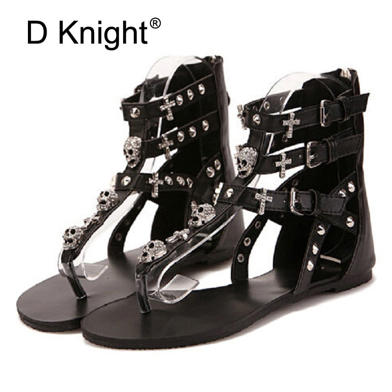 Fashion Brand Women Gladiator Sandals 2018 Summer Casual Flip Flops Sexy Cutout Zipper Skull Rivet Sandals Flat Shoes Woman E17 fashion gladiator sandals flip flops fisherman shoes woman platform wedges summer women shoes casual sandals ankle strap 910741