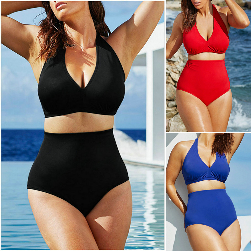 2017 New Sexy Bikinis Women Large Size Swimsuits High Waist Bikini Push Up Bathing Swim Suit Bikini Set Plus Size Swimwear XXXL