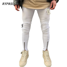 Autumn 2017 Zipper White Jeans Men Casual Jeans Mid Waist Pleated Skinny Destroyed Hole Motorcycle Denim Pants Trousers Designer