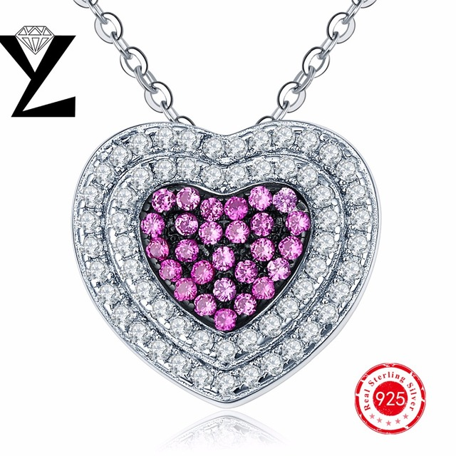 Pendant Necklace Women Fashion Sterling-Silver-Jewelry 925 Heart Vintage Rhinestones Pendant for Lovers Pinkcolor YL Brand