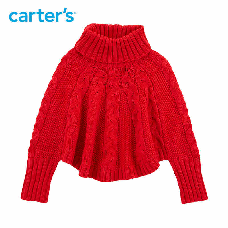 Carter's Holiday Poncho Sweater Autumn winter red turtleneck long sleeve girls sweaters warm kids knitted sweaters 253H930 hiawatha 2017 autumn winter knitted dress women turtleneck solid color sweater dresses female long sleeve vestidos l8150