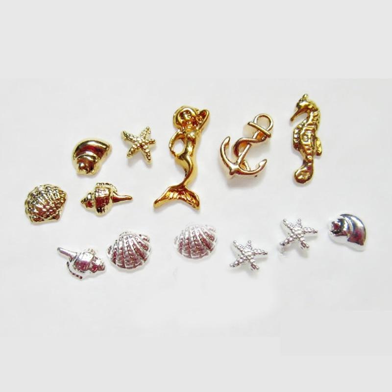 1 caja de metal Sea Horse Shell Nail Studs oro plata estrella de mar - Arte de uñas - foto 2