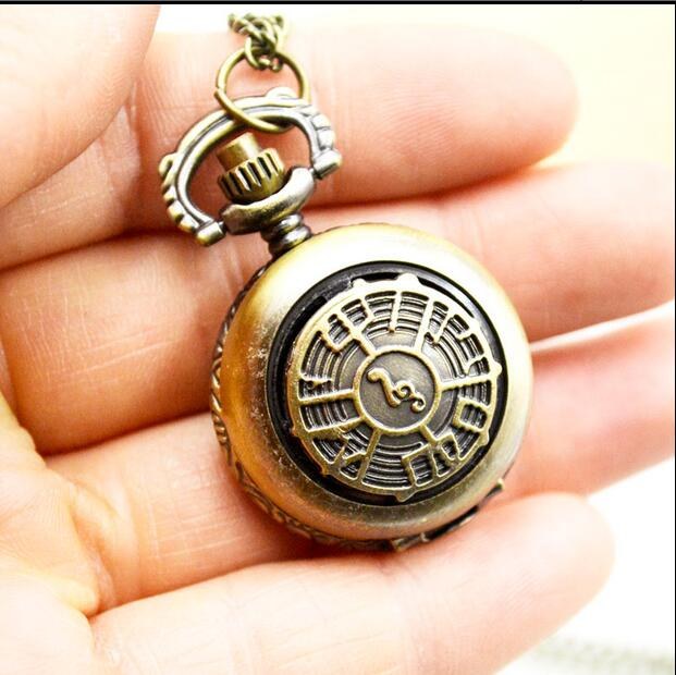 Retro Antique Musical Note Steampunk Pendant Necklace Chain Quartz Pocket Watch 10pcs/lot Gift