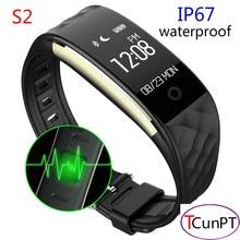 S2 Bluetooth Smart Браслет монитор сердечного ритма IP67 водонепроницаемый SmartBand браслет для Android IOS Телефон PK fitbits
