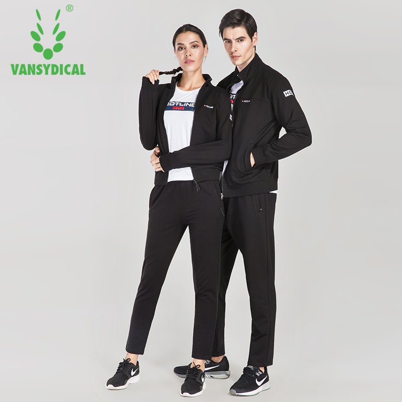 Vansydical New Couple Sports Clothing Gym Fitness Sportswear Long Sleeve Jacket Training Running Tracksuits 3pcs set women s running jacket 2017 new long sleeve sports coat women yoga gym fitness windproof waterproof running jackets