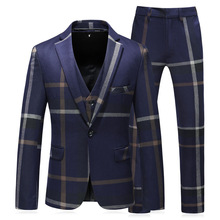купить Navy Blue/Gray Mens Suits With Pants Coat Latest Designs 2019 Slim Fit Male Married Dress Men Party Clothes Business Office Suit по цене 7432.51 рублей