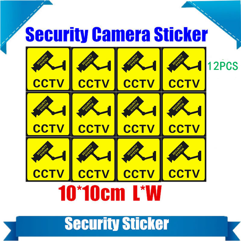 12 Pieces Waterproof Security Camera Sticker Warning Decal Signs For CCTV Surveillance Fake Camera And Dummy Camera