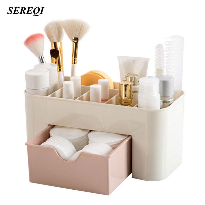 SEREQI Multi-Purpose Plastic Storage Box Cosmetics Holder Container Bedroom Desktop Makeup Storage Organizer Case