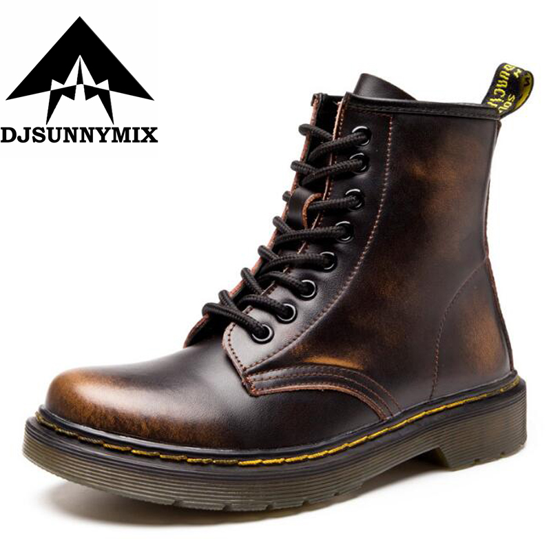DJSUNNYMIX Brand 2018 New England Style Women Martin Boots autumn winter genuine leather unisex Ankle boots plus Size 35-46 2017 new anti slip women winter martin
