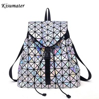 Kisumater Hologram Backpack Women S Luminous Geometric Lattice Bag Noctilucent School Bag Free Shipping Baobao Backpack