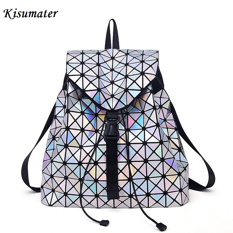 Kisumater Hologram Backpack Women's Luminous Geometric Lattice Bag Noctilucent School backpack designer bag Free Shipping kaisibo luminous backpack diamond lattice bag travel geometric women fashion bag teenage girl school noctilucent backpack