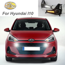 For Hyundai i10 2017 2018 with turn signal relay car-styling waterproof 12V LED CAR DRL Daytime running lights fog lamp cover 2pcs car daytime running light for hyundai elantra 2016 2017 drl cover fog lamp with yellow turn signal light car styling led