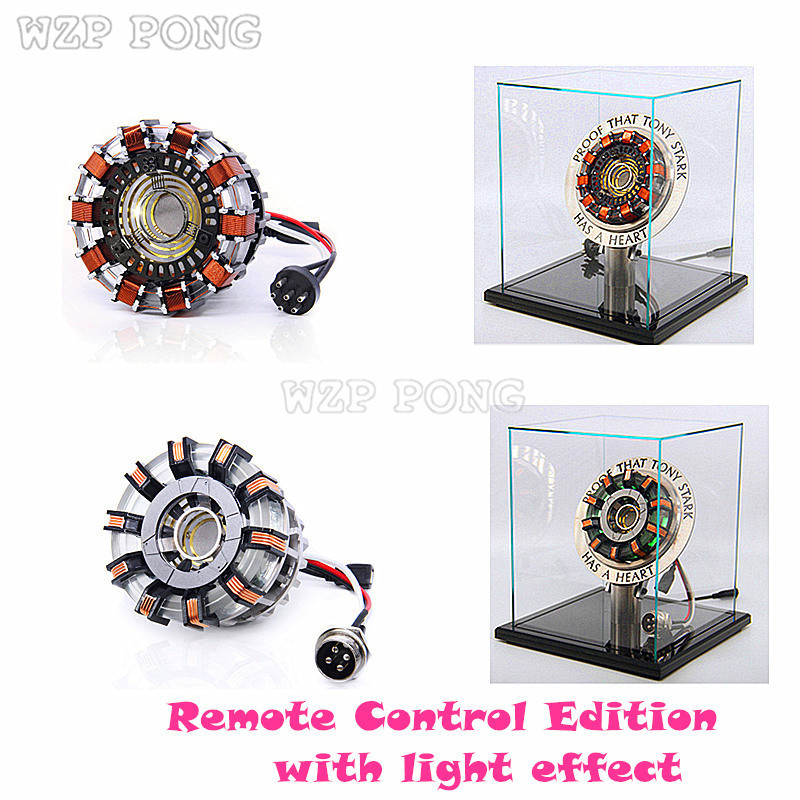 Avengers 1:1 Scale Iron Man Arc Reactor Action Figure Remote Light Arc MK1 MK2 Iron Man DIY Model Finished Toys Chest Lamp