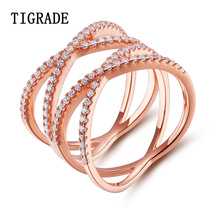 New Trendy 925 Sterling Silver Rose Gold Ring Party Anniversary Romantic Double Letter X Shape Rings For Women Free shipping недорго, оригинальная цена