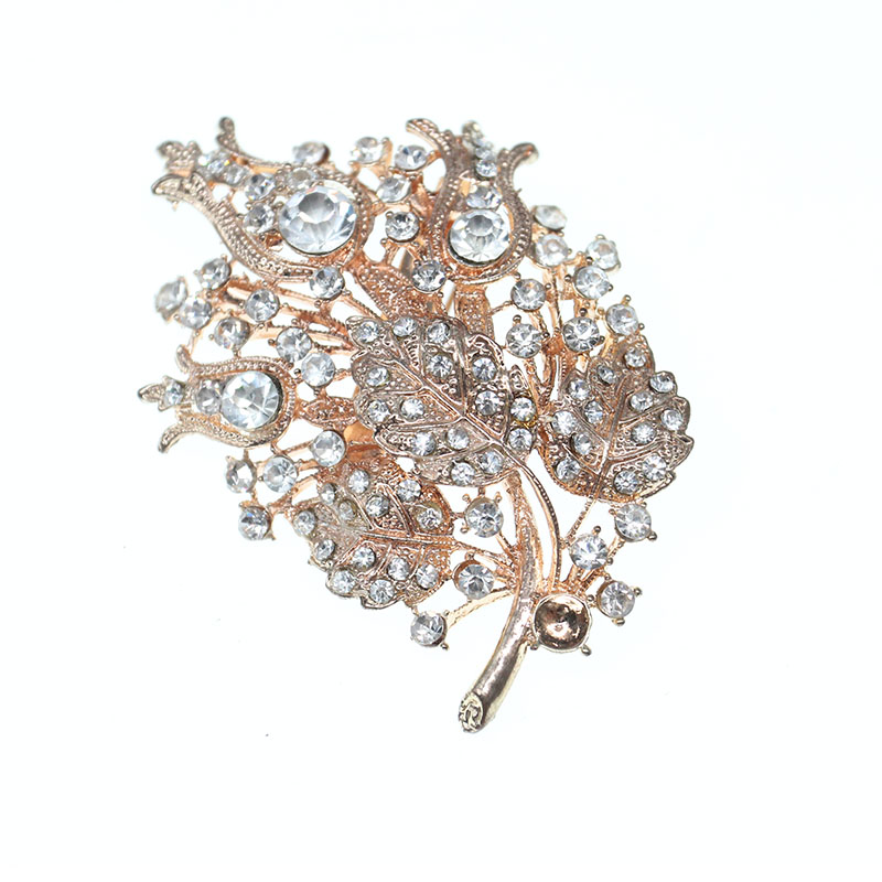 Banquet cristal fleur broche broche mode strass bijoux hommes en métal doré broches de mariage grande plante broches