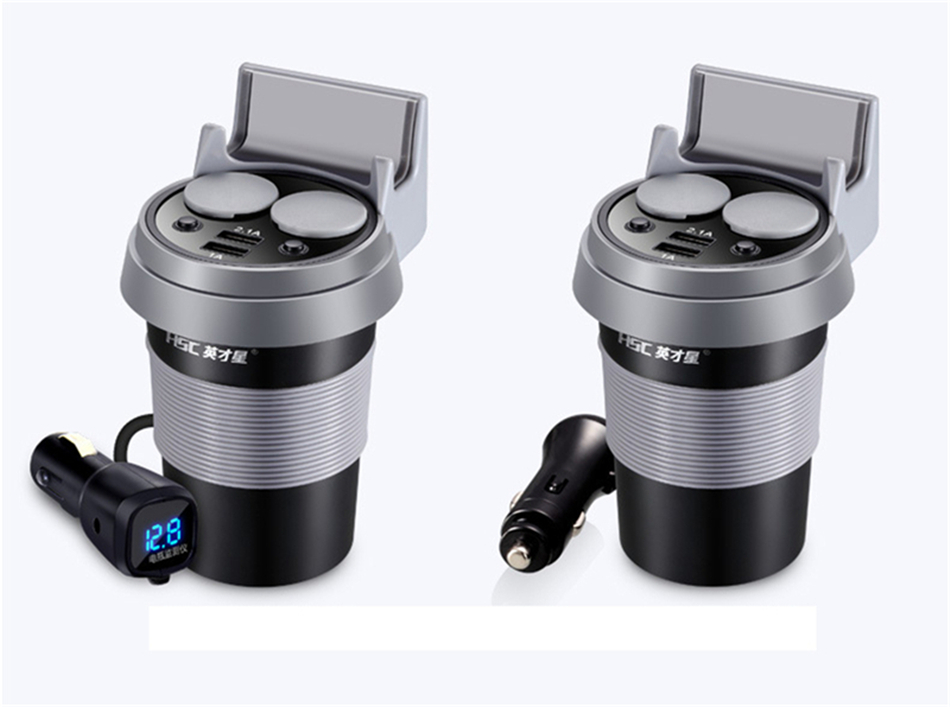 Brand HSC 12-24V 3.1A high speed Output USB Car Charger  Quick Charge Car Cup Holder Car Cigarette Lighter Socket Adapter (2)