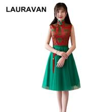 Вечерние платья с высоким воротом, короткие, красные, зеленые, элегантные, женские, Короткое бальное платье, вечерние платья для свадьбы