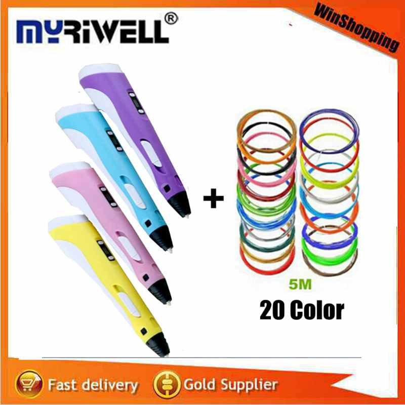 Factory Outlet 3D Pen Add Free 100M 20 Color ABS 3D Printing compatible ABS/PLA 2st Generation Led Screen AU US UK EU For Kids