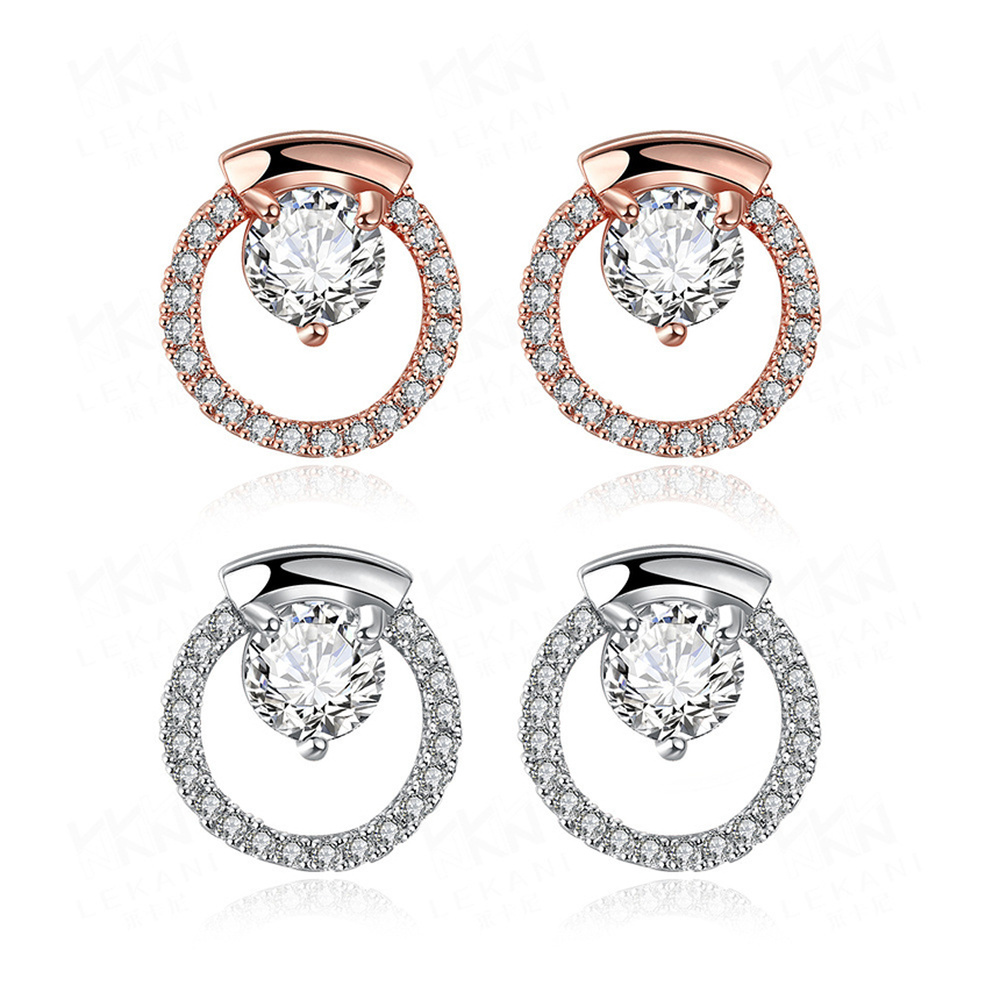European and American 925 Sterling Silver Alloy Diamond Stud Earrings for Women Fine Jewelry Cute 18K Rose Gold Geometric Type in Earrings from Jewelry Accessories
