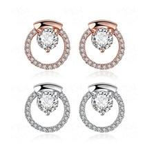 цены European and American 925 Sterling Silver Alloy Diamond Stud Earrings for Women Fine Jewelry Cute 18K Rose Gold Geometric Type