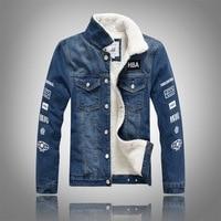 YuWaiJiaRen Winter Fashion Denim Jacket Men Fur Collar Plus Velvet Letter Print Fleece Thick Warm Casual