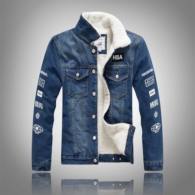 73f171ac5bc0 YuWaiJiaRen Winter Fashion Denim Jacket Men Fur Collar Plus Velvet Letter  Print Fleece Thick Warm Casual Men s Jeans Coat