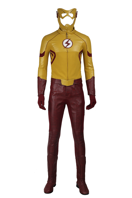 The Flash Season 3 Wally West Kids Flash Cosplay Costume Superhero Halloween Costumes for Adult Men New Flash Suit Custom Made