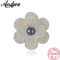 Luxury Exquisite 100% 925 Sterling Silver Bloom Flower Brooches for Women Banquet Weddings Brooches Pins Gifts