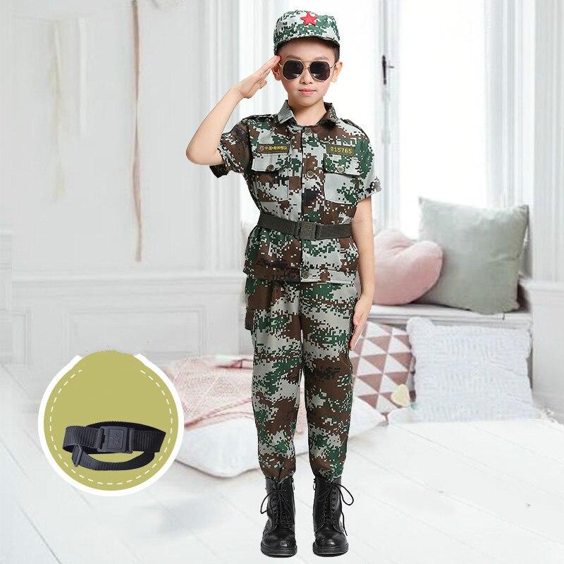 Детская военная форма Amy, детская камуфляжная форма для мальчиков, военная спортивная одежда, спортивный костюм для солдат, полицейский костюм - Цвет: short sleeve