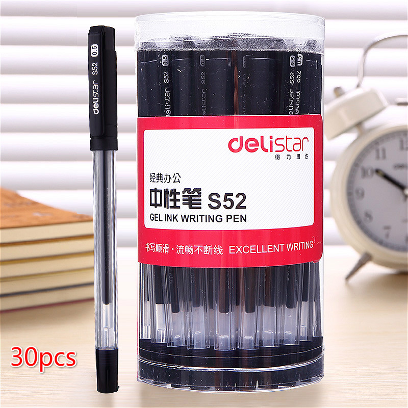 Deli S52 black carbon pen 0.5mm gel signing pen 30pcs german imports schneider signing pen gel pen elegant business 1pcs