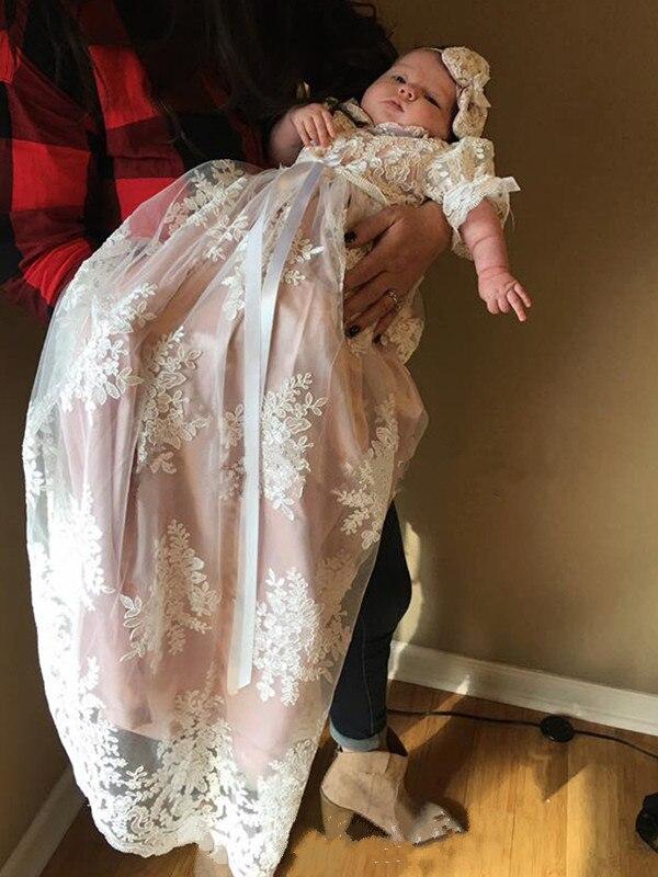 0-30 M Baby Girl Infant Toddler Christening Baptism Dress White Gown 0 1 2 3 4