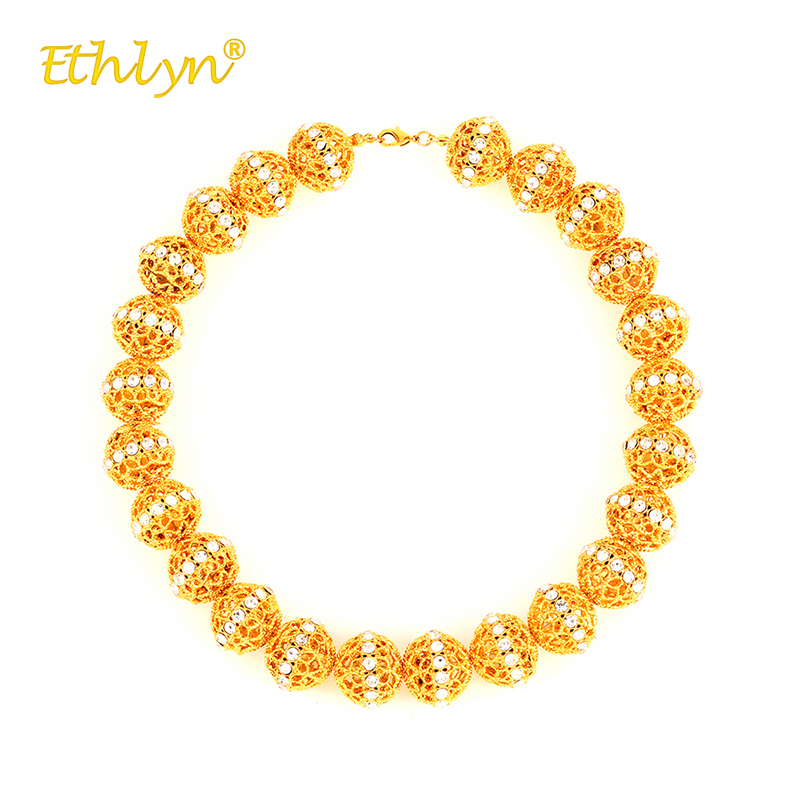 Ethlyn Round Hollow Bead Crystal Chains for Women Africa/the Middle East/Ethiopia Wedding Jewelry Luxury Gold Color Necklace punk style cylinder hollow out round faux crystal solid color torques for women