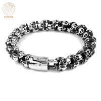 Freeshipping Hiphop Stainless Steel Jewelry Chain Bracelet Men Gothic Skull Charm Wrist Band Motorcycle Biker Bracelets