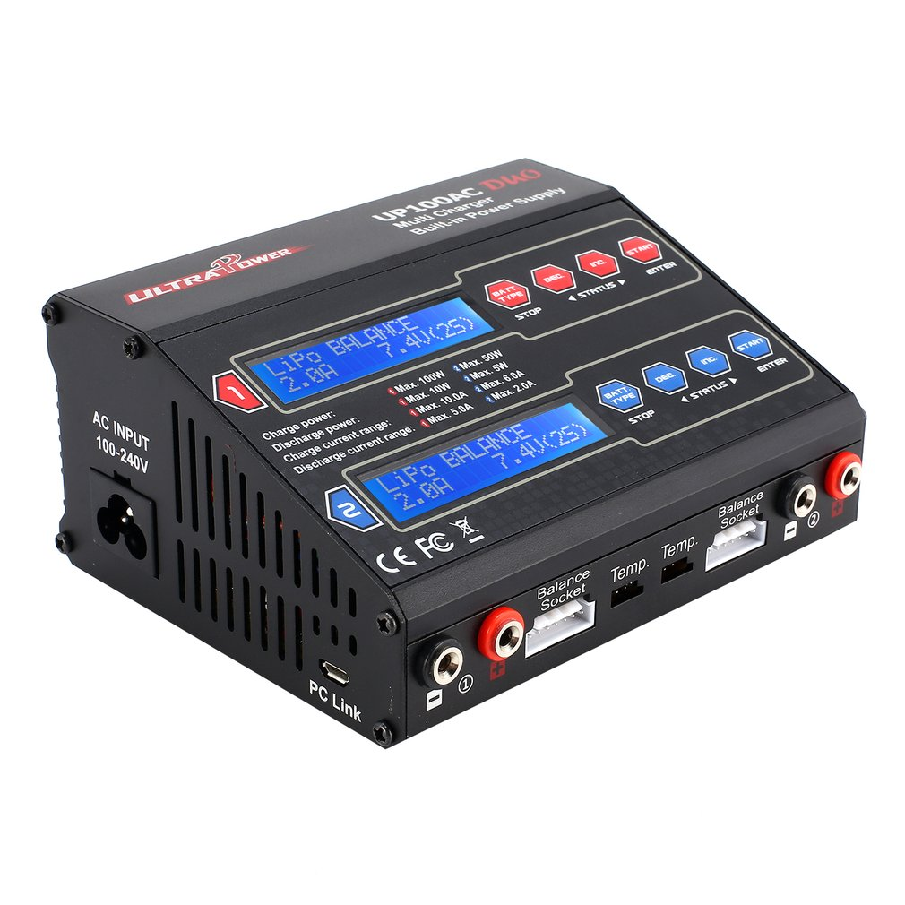 UP100AC DUO 100W Cyclic Charge discharge LiIo LiPo LiFe NiMH Nicd Balance Charger Arrester for RC