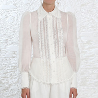 Luxury Brand Shirt 2018 Italy Big Brand Top Women Real Silk Linen Lace Trims Decoration Suit Blouse Sexy White Hollow out Shirts
