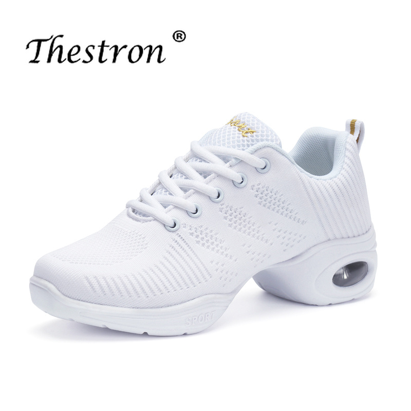 Thestron Dance Sneakers For Womens Comfortable Ballroom Shoes White Black Women ShoeWomen Cheap Dancing Jazz Sneaker