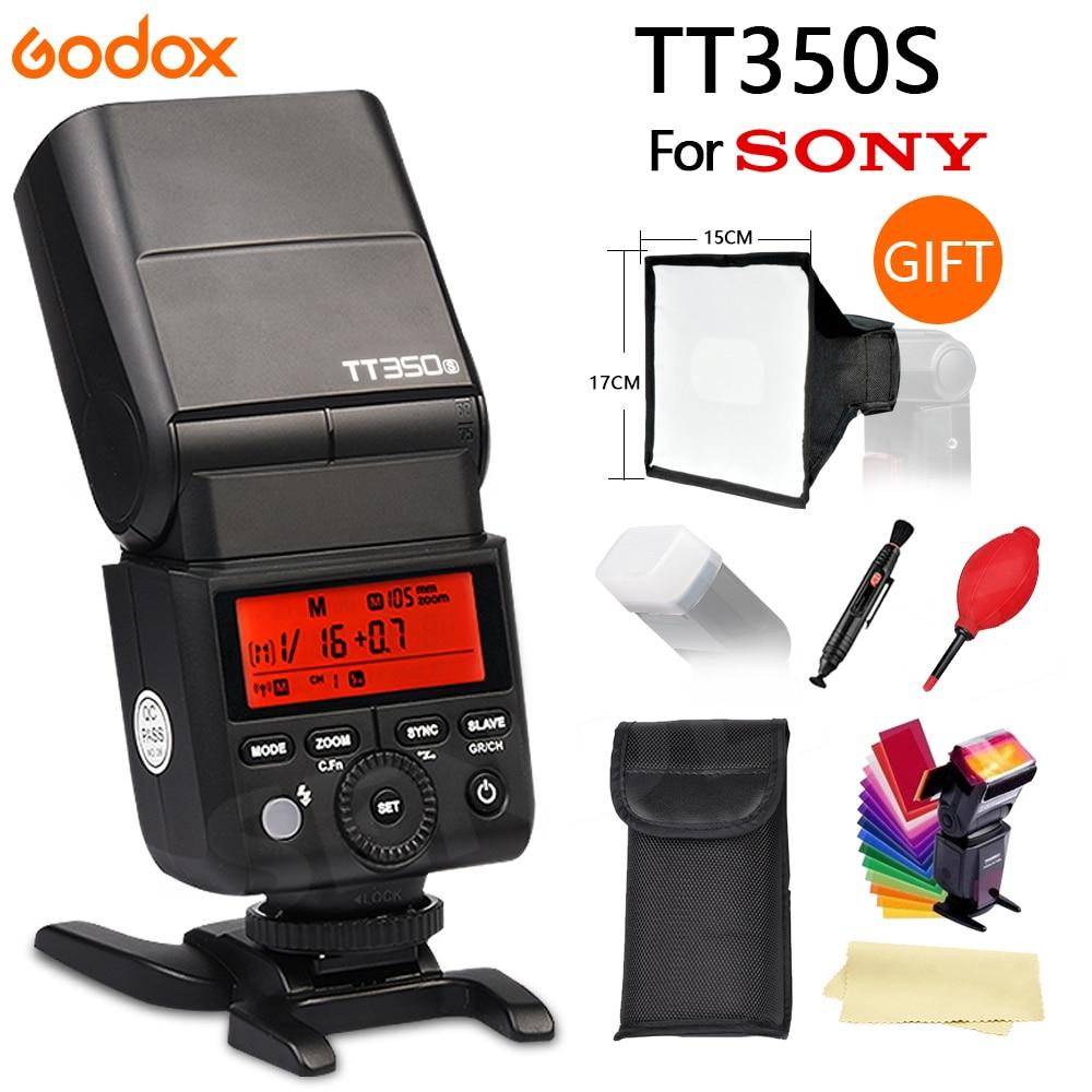 Godox Mini Speedlite TT350 TT350S Camera Flash TTL HSS for Sony Mirrorless DSLR Camera A7 Series A6000 Series A58 A99 A77II RX10 godox tt350s hss 1 8000s 2 4g speedlite flash light ttl for sony multi interface shoe camera a58 a99 ilce6000l a77ii a7rii a7r
