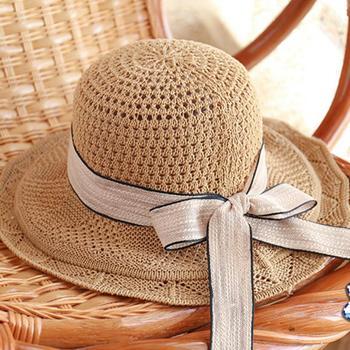 Outdoor Straw Hats Floppy Ribbon Foldable Wide Brim Stripe Women Sun Visor Beach Hat