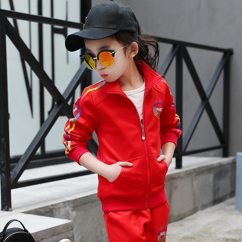 ФОТО 2017 Kids Clothes 2 Pcs Girls Clothing Sets Baby Girl Spring Wear Ensemble Fille Roupas Infantis Menina Stripe Coat + Pants Sets
