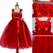 Children Long Juniors Halter Neck Formal Wedding Dress Appliques Tulle  Evening Kids Party Girls Dresses Red ce5d29bace36